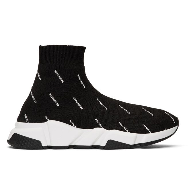 ad765152adab Balenciaga Men s Speed Signature Mid-Top Trainer Sock Sneakers In 1006 Noir  Blanc