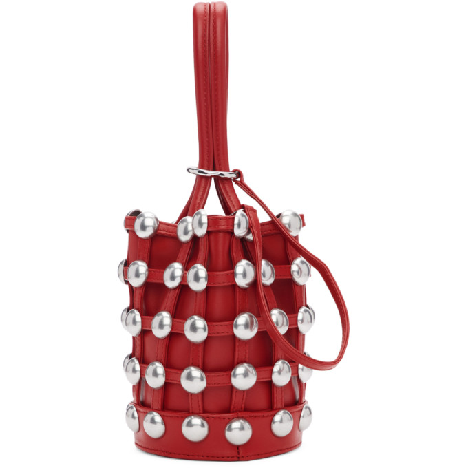 e312888df408 Alexander Wang Mini Roxy Studded Cage Leather Bucket Bag - Red ...