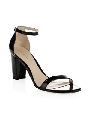 9168df3c02c Stuart Weitzman Nearlynude Patent Leather Block Heel Sandals In Black