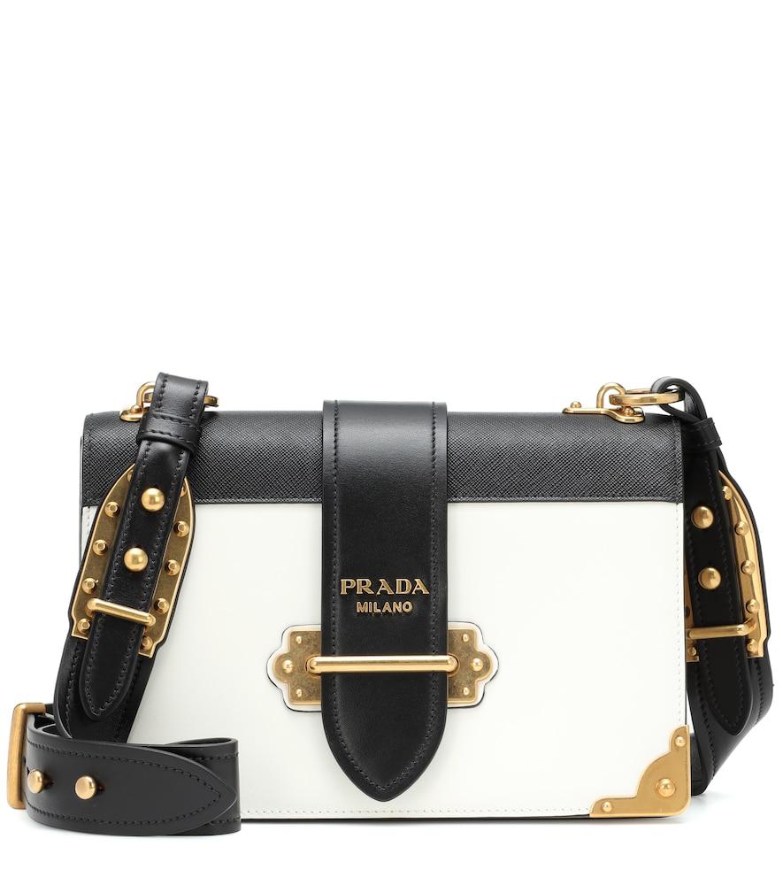 086279874297 Prada Cahier Leather Shoulder Bag In Black