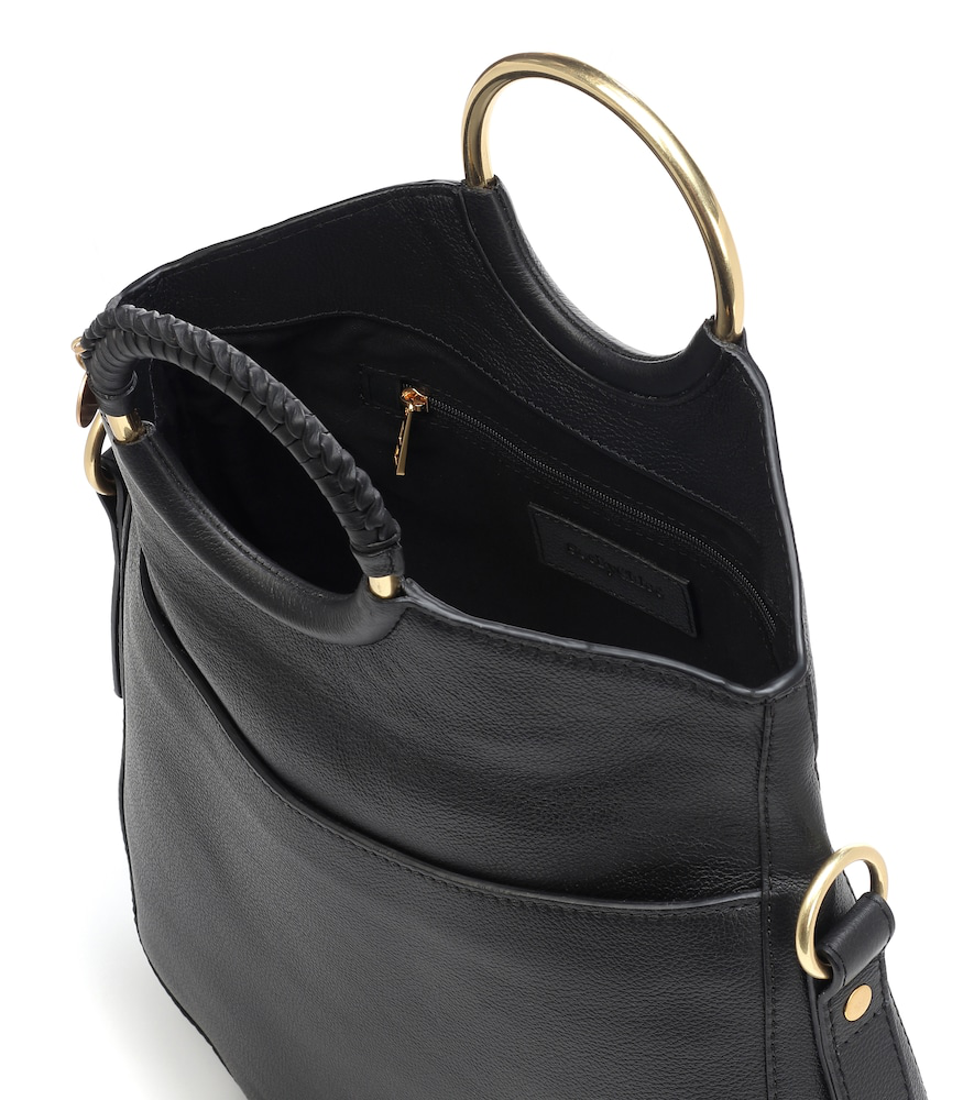 1479166e See By Chloe Monroe Ring Handle Convertible Leather Shoulder Bag in Black