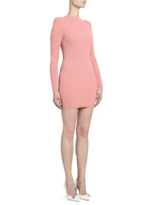 7443e84c19 Balmain Long Sleeve Ribbed Sweater Dress In Coral