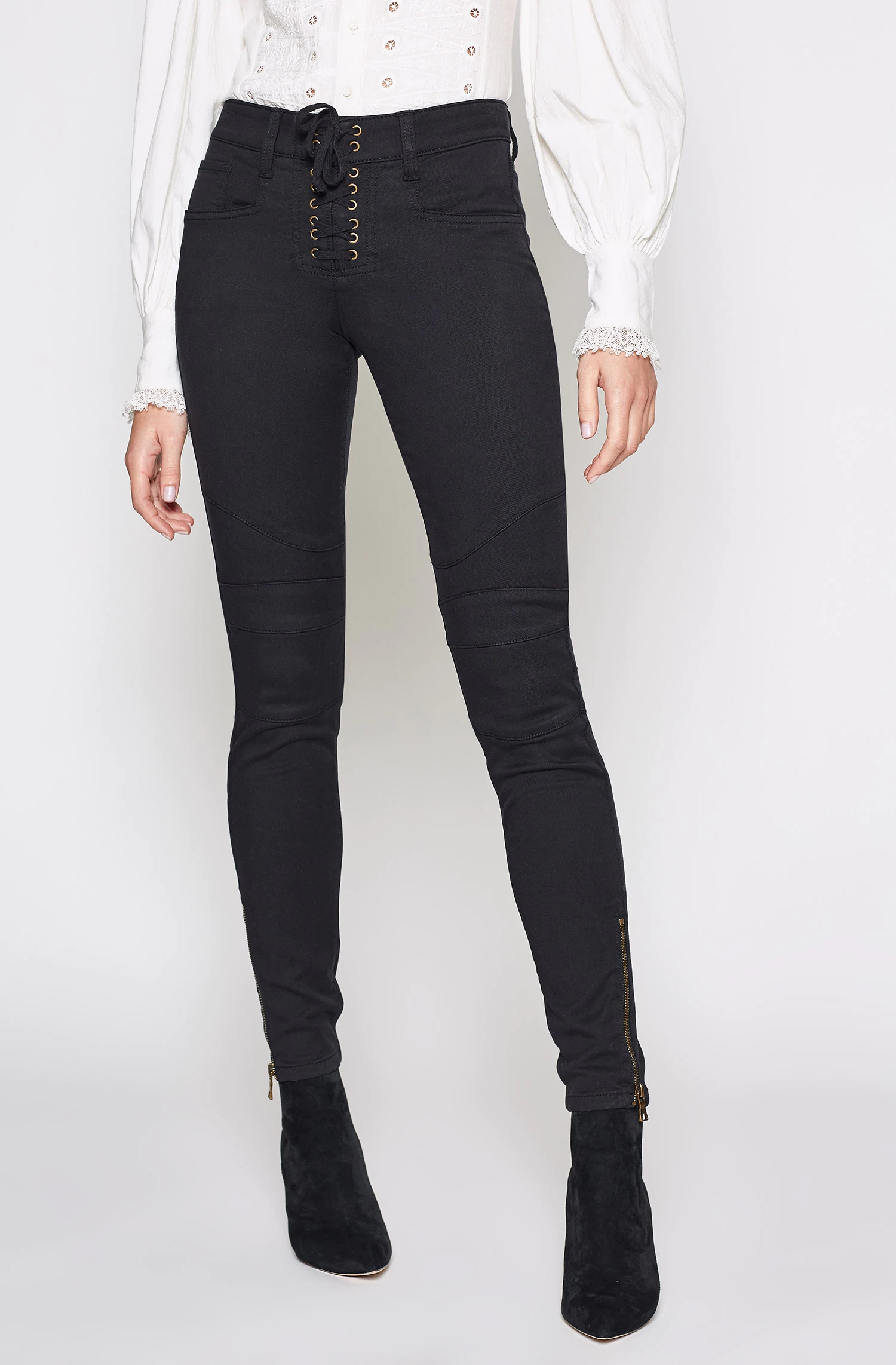Joie Adorea Skinny Lace-Up Ankle-Zip Moto Pants In Caviar
