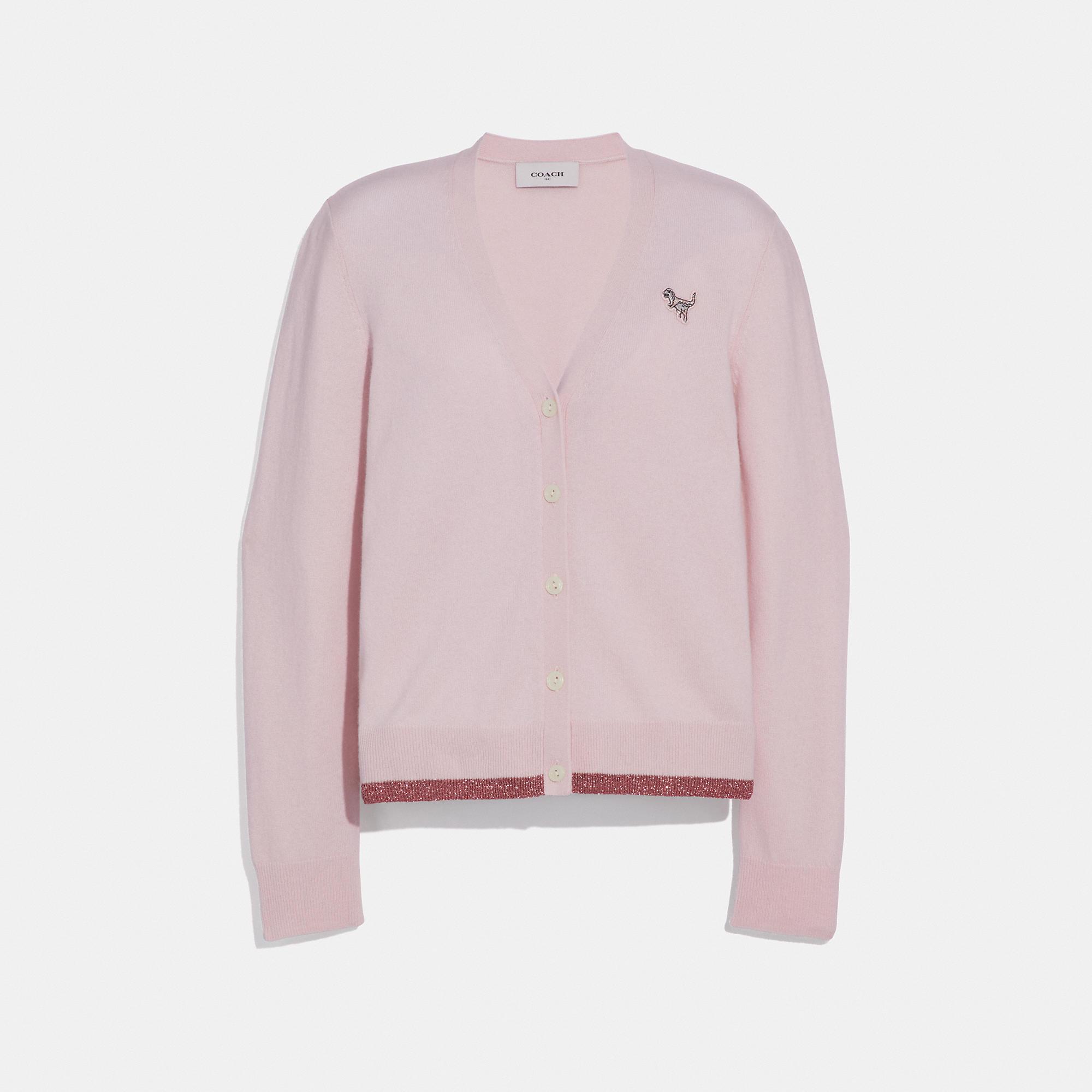 84cc893015a Rexy Patch Metallic Wool-Cashmere Cardigan, Light Pink
