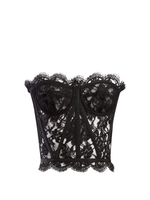 768c0f115520aa Dolce   Gabbana Scallop-Edged Lace Bustier Top In Black