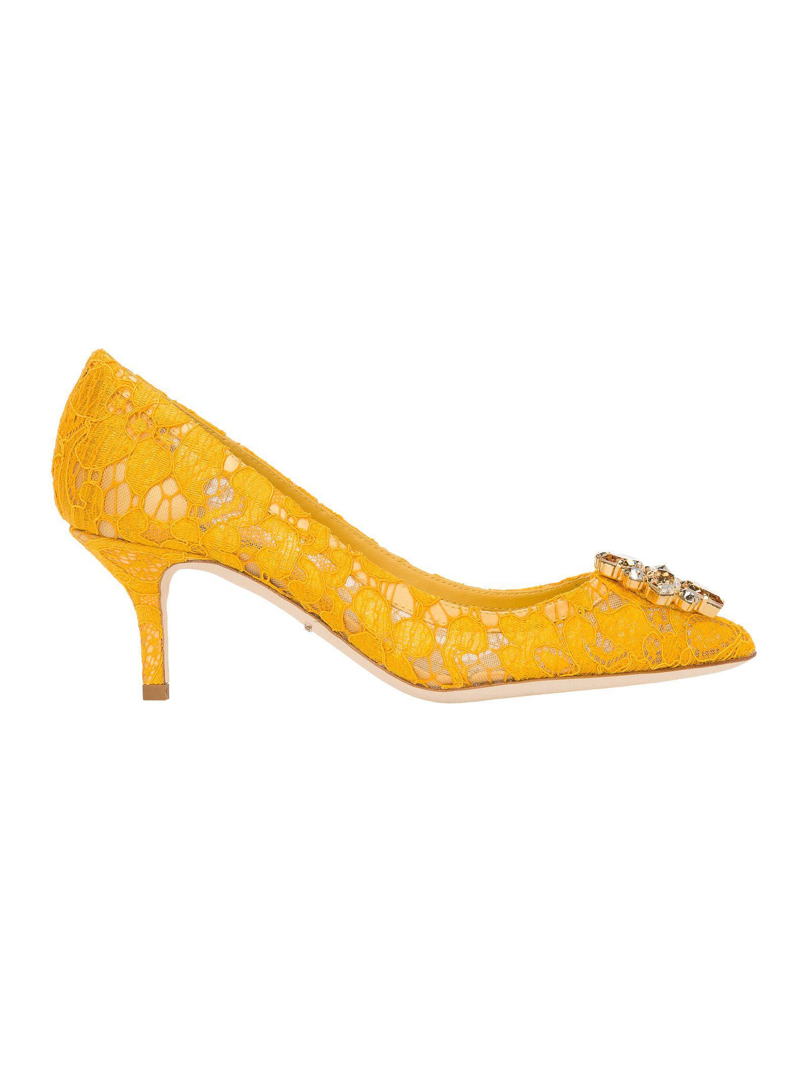1c20369e79ed Dolce   Gabbana Belluci Crystal-Embellished Lace Pumps In Yellow ...