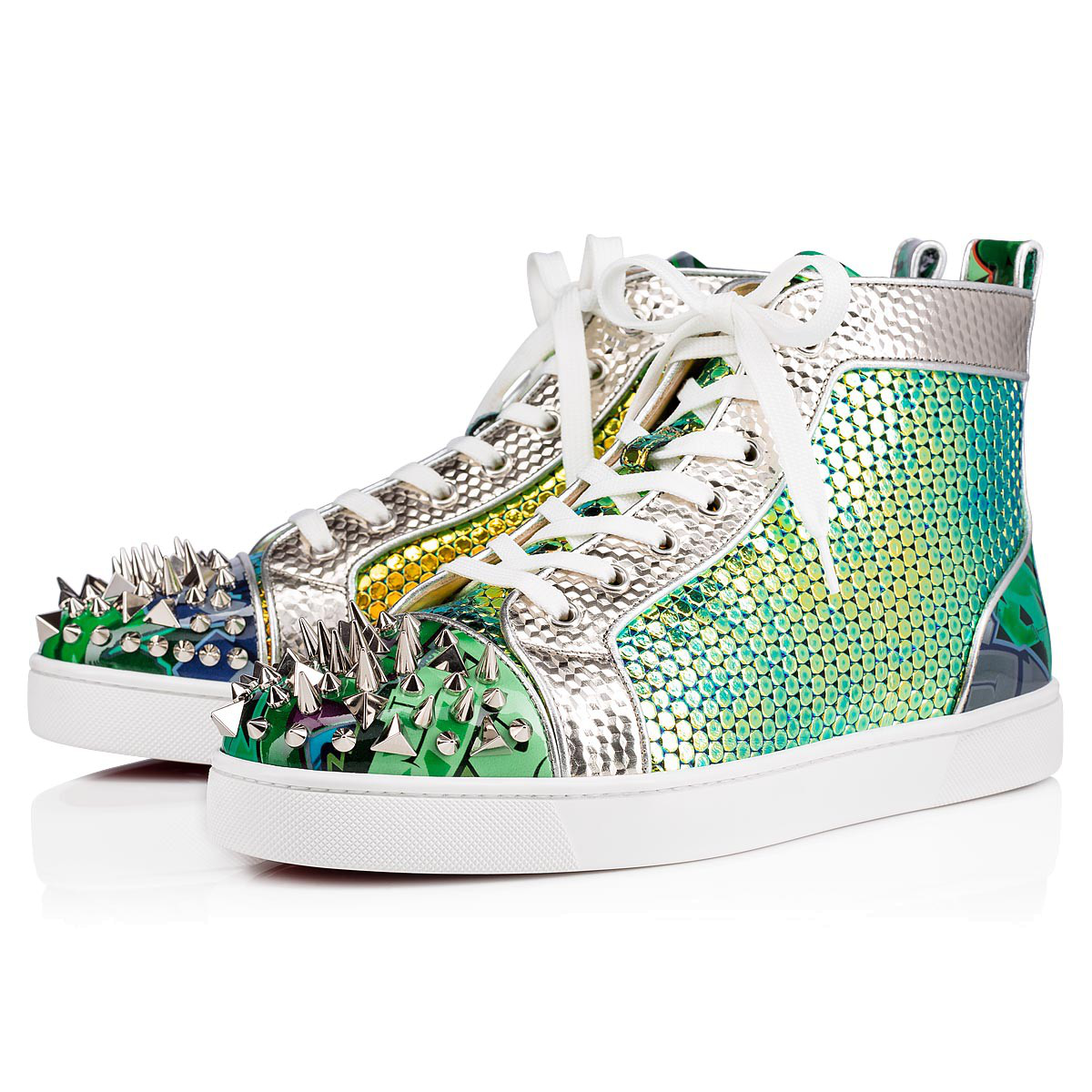 97e336b497c Christian Louboutin Men s Spiked Metallic Holographic Mid-Top Sneakers In  Version Taiga