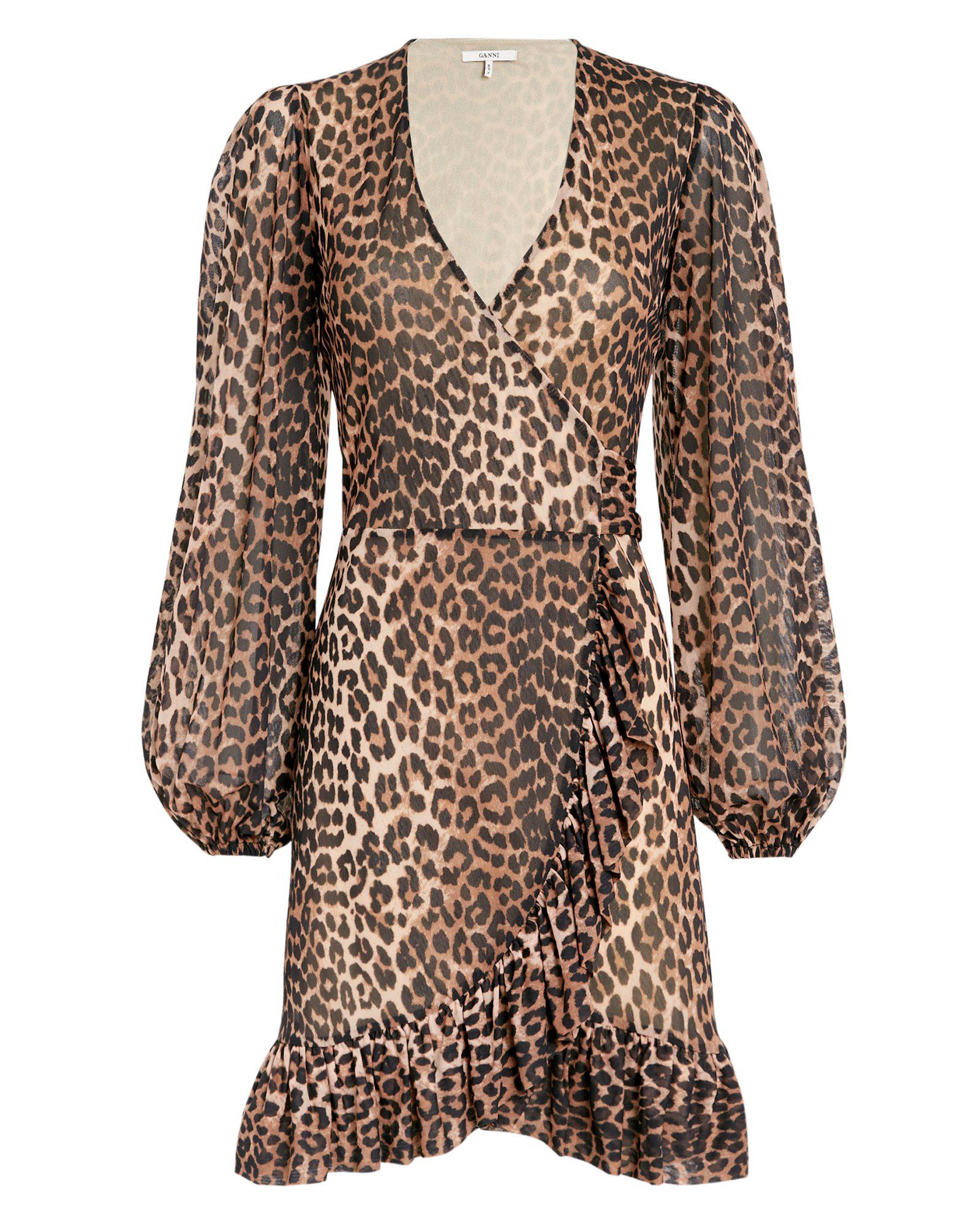 c1fc2b51ecf7 Ganni Tilden Leopard-Print Chiffon Wrap Dress In Brown | ModeSens