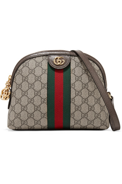 59b36870ec2 Gucci Ophidia Textured Leather-Trimmed Printed Coated-Canvas Shoulder Bag  In Beige