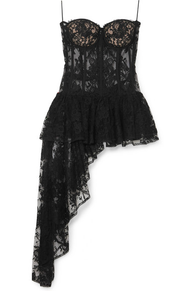 2a42f53a4a412 Alexander Mcqueen Draped Cotton-Blend Sarabande Lace Bustier Top In Black