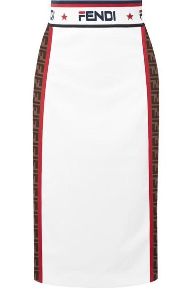 06e6933c1d21 Fendi Jacquard Midi Skirt In White