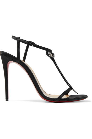 ef2f39f80aa8 Christian Louboutin T Cab 100 Crystal-Embellished Satin Sandals In Black