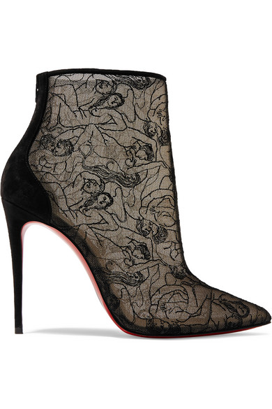 timeless design b837e 3d779 Psybootie 100 Suede-Trimmed Embroidered Mesh Ankle Boots in Black