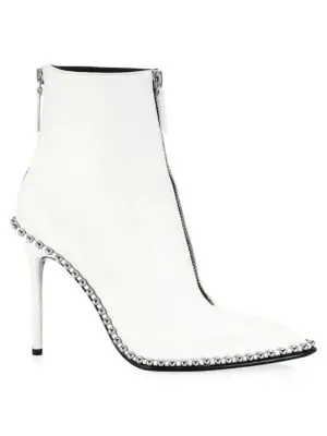 Alexander Wang Eri Leather Dual-Zip Booties With Studs In 100 White