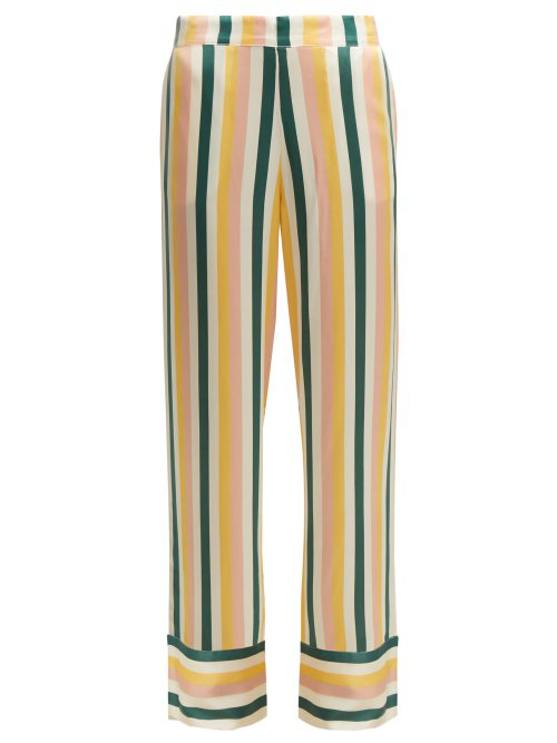 hot sale online preview of fashion design Striped Sandwashed-Silk Pyjama Trousers in Yellow Stripe