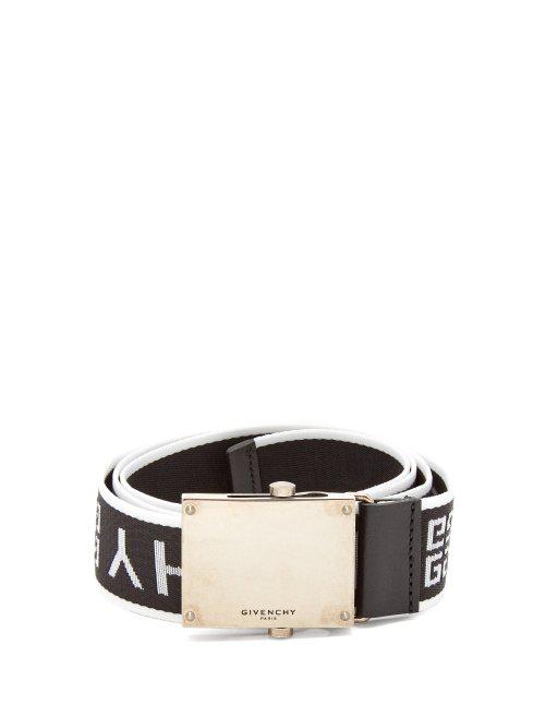 Givenchy 3.5Cm Leather-Trimmed Logo-Jacquard Webbing Belt In Black