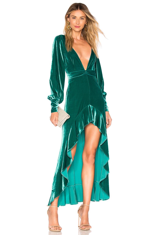 4ed6731972 For Love   Lemons Viva Velvet Maxi Dress In Green. In Emerald