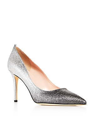 Sjp By Sarah Jessica Parker Women s Fawn Glitter Pointed-Toe Pumps In Silver  Glitter