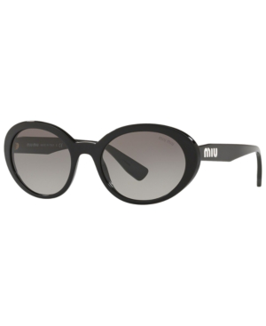 bc4088f0742 Miu Miu Mirrored Acetate Oval Sunglasses In Black   Grey Gradient ...