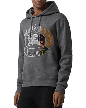 a83f4d7dbf4d Burberry Logo-Embroidered MÉLange Fleece-Back Cotton-Blend Jersey Hoodie In  Grey