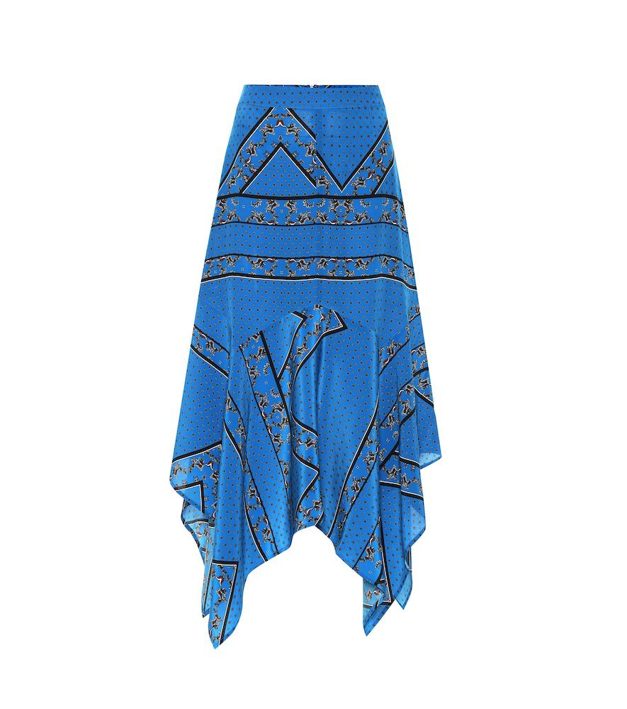 4a22098e Ganni Cloverdale Bandana-Print Silk-Crepe Midi Skirt In Cobalt Blue ...