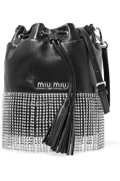 13138ab3859 Miu Miu London Night Crystal-Embellished Leather Bucket Bag In Black. NET-A -PORTER