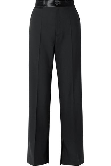 dd6b44b85763c Helmut Lang Satin-Trimmed Wool And Mohair-Blend Wide-Leg Pants In Black