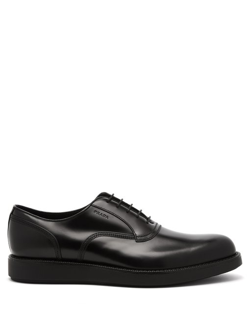 Prada Raised Sole Leather Oxford Shoes Mens Black Modesens