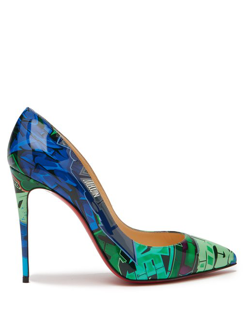 finest selection 9186f a71ae Pigalle Follies 100Mm Patent Metrograf Red Sole Pumps in Green