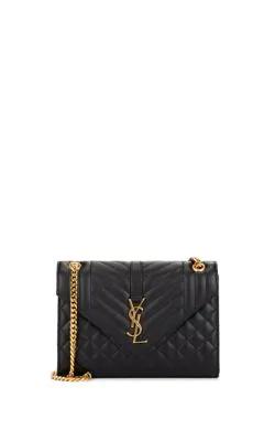 95ba0fc645790 Saint Laurent V Flap Monogram Ysl Medium Envelope Chain Shoulder Bag - Golden  Hardware In Black