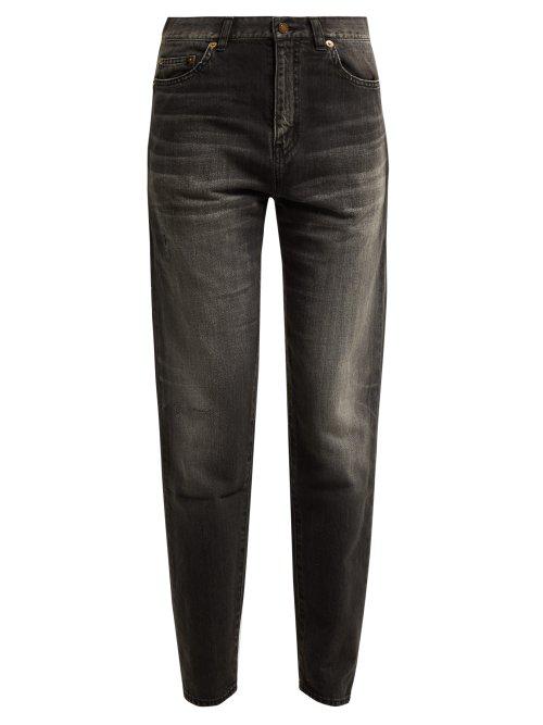 d6e283a3f26 Saint Laurent Mid-Rise Cotton Boyfriend Jeans In Black   ModeSens