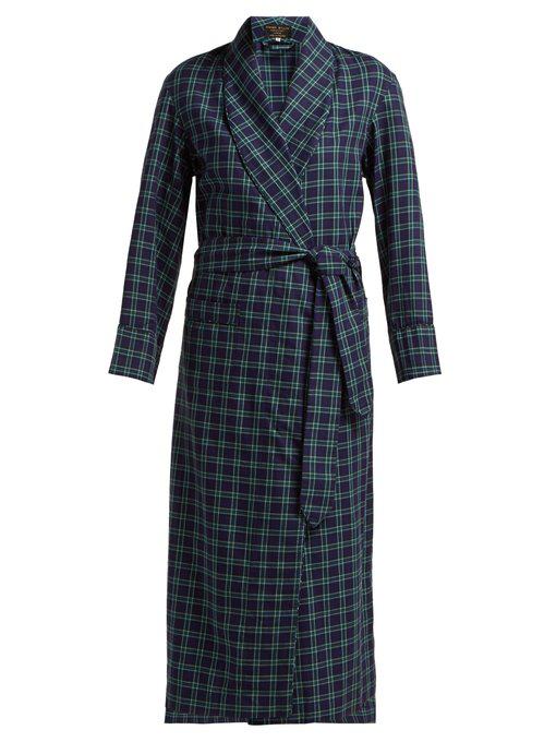 861330bbb13 Emma Willis - Clark Checked Cotton Robe - Womens - Blue Multi | ModeSens