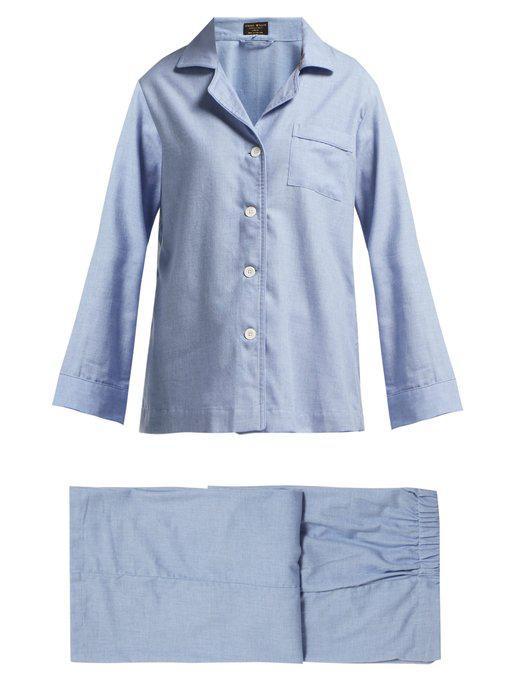 6e00574eb Emma Willis - Fluted Sleeve Cotton Blend Pyjamas - Womens - Blue ...