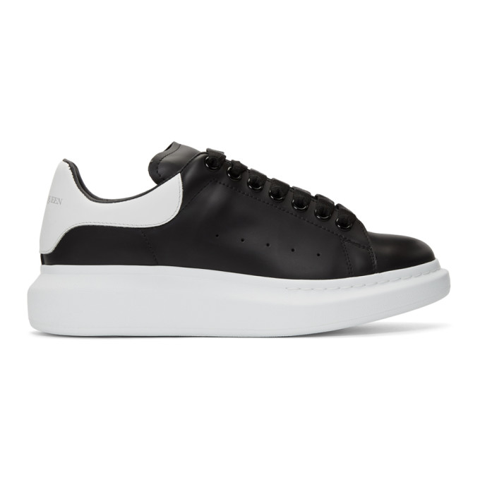 d2078dd27fc3 Alexander Mcqueen Mens Black And White Show Leather Platform Trainers
