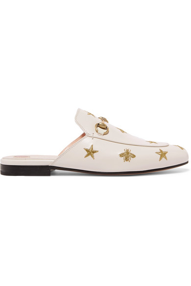 f7f8f94b125 Gucci Princetown Horsebit-Detailed Embroidered Leather Slippers In White