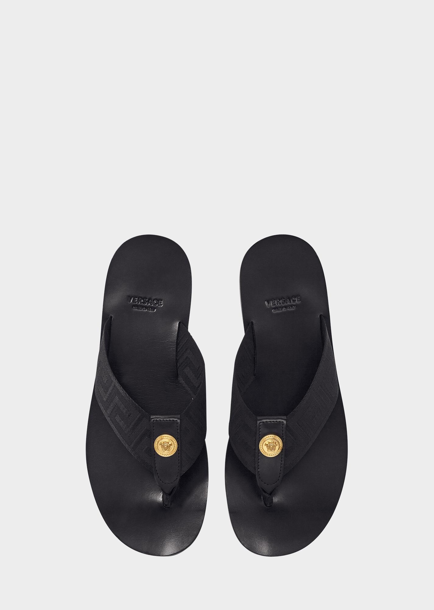 27c9fb0ecdbb Versace Logo-Embellished Leather And Webbing Flip Flops In Black ...