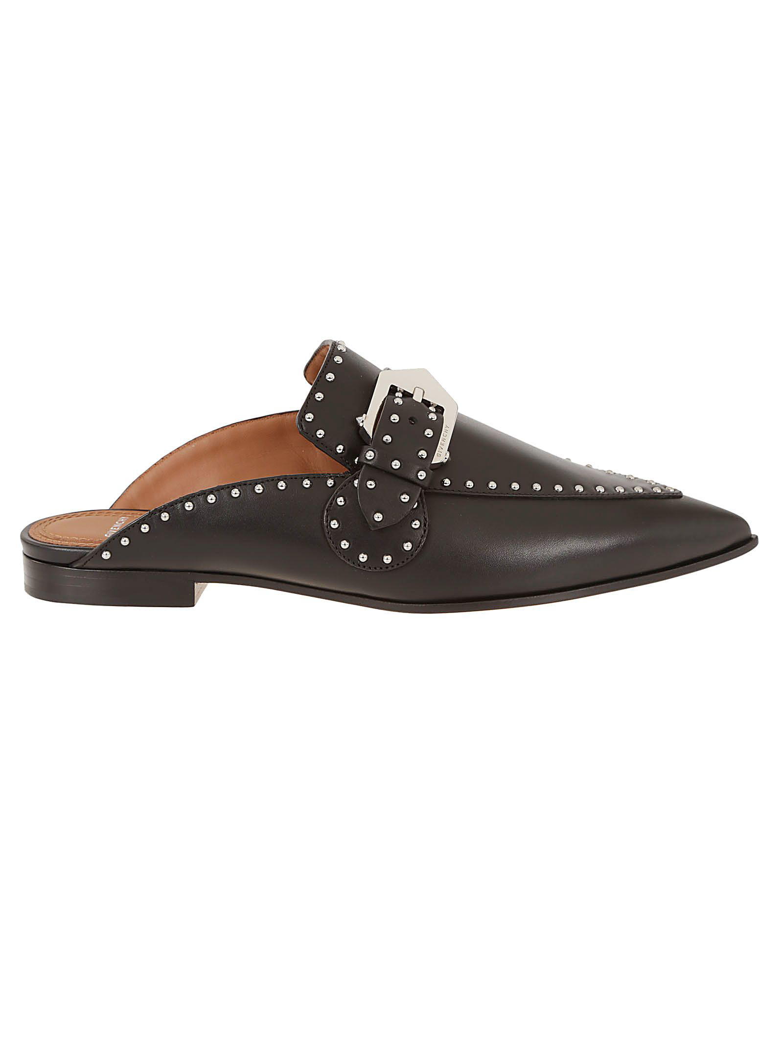 c66e84eeeee Givenchy Elegant Studded Leather Backless Loafers In Black