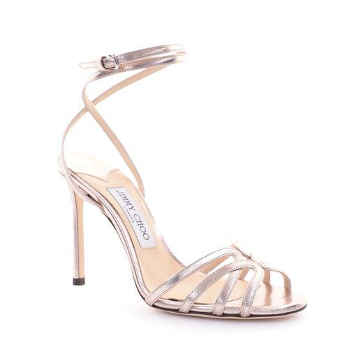 541e4aa16b7 Jimmy Choo Mimi 100 Platinum Metallic Nappa Leather Wrap Around Sandals
