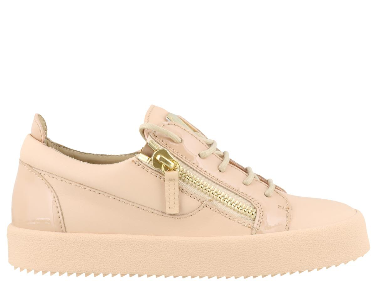 64af6c902b0fb Giuseppe Zanotti London Leather Side-Zip Sneakers, Shell Pink | ModeSens