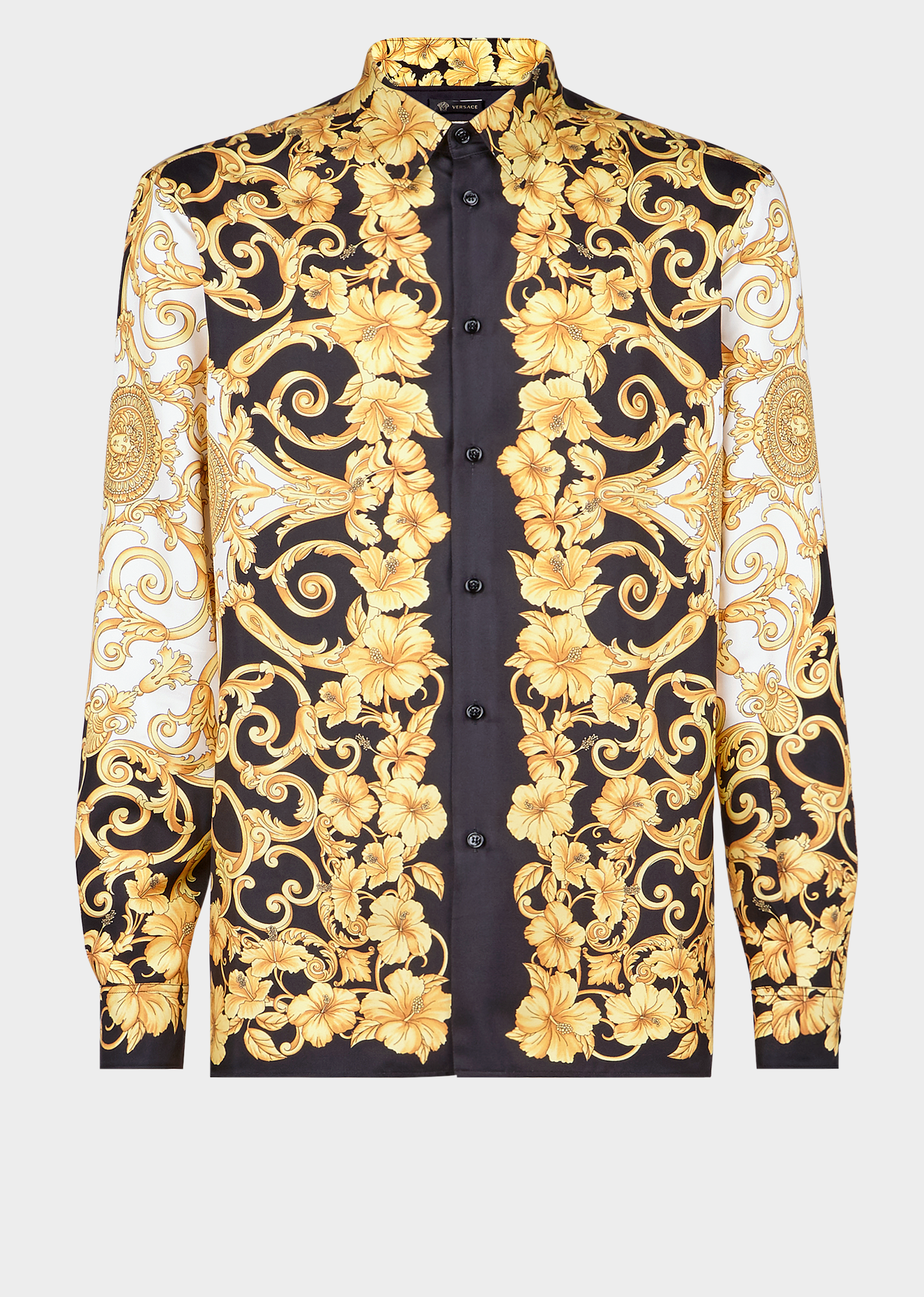 54d6435f906db0 Versace Black And Gold Silk Shirt With Iconic Gold Hibiscus Print ...