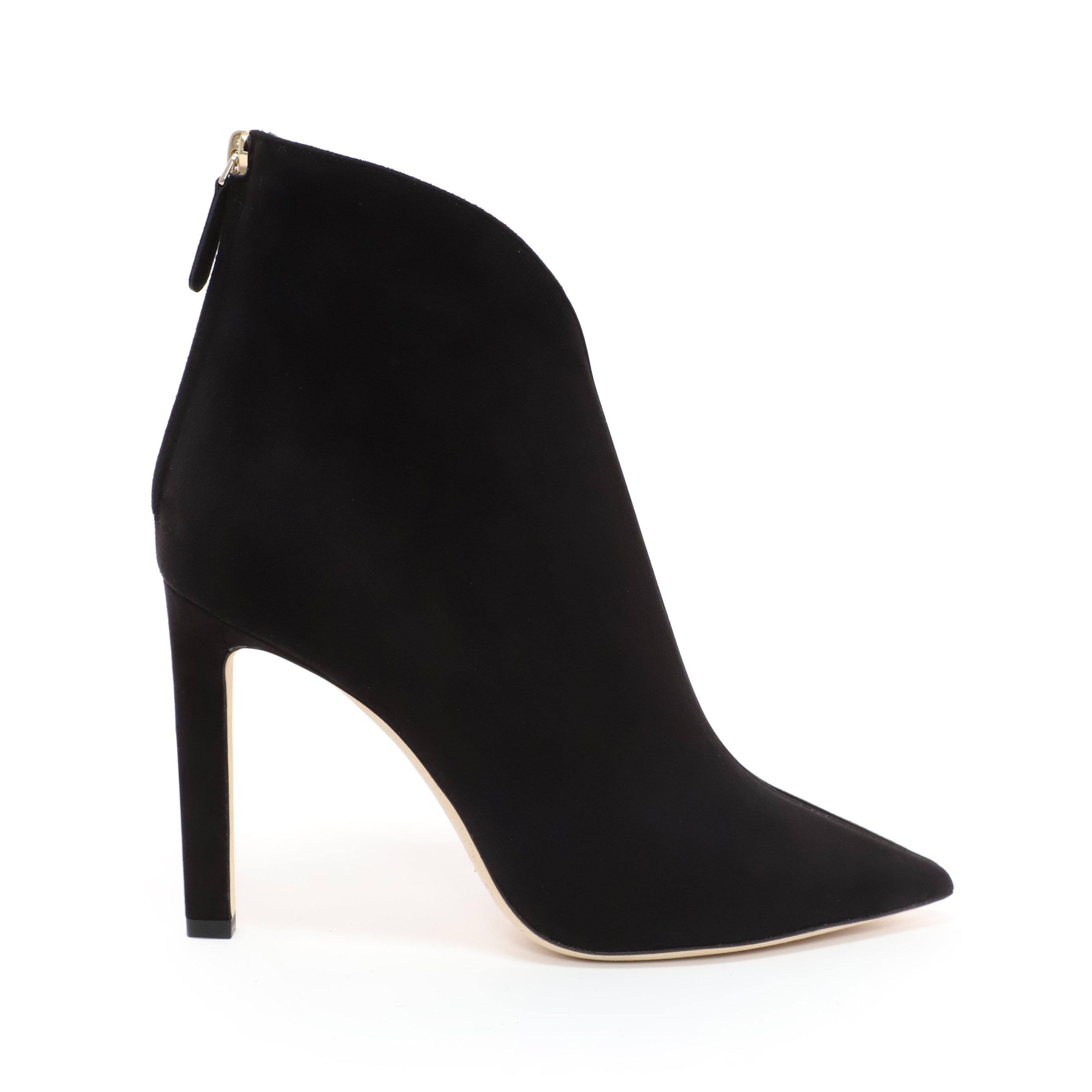 d4faab19e3d Jimmy Choo Bowie 100 Black Suede Pointed Toe Booties With Plexi Insert