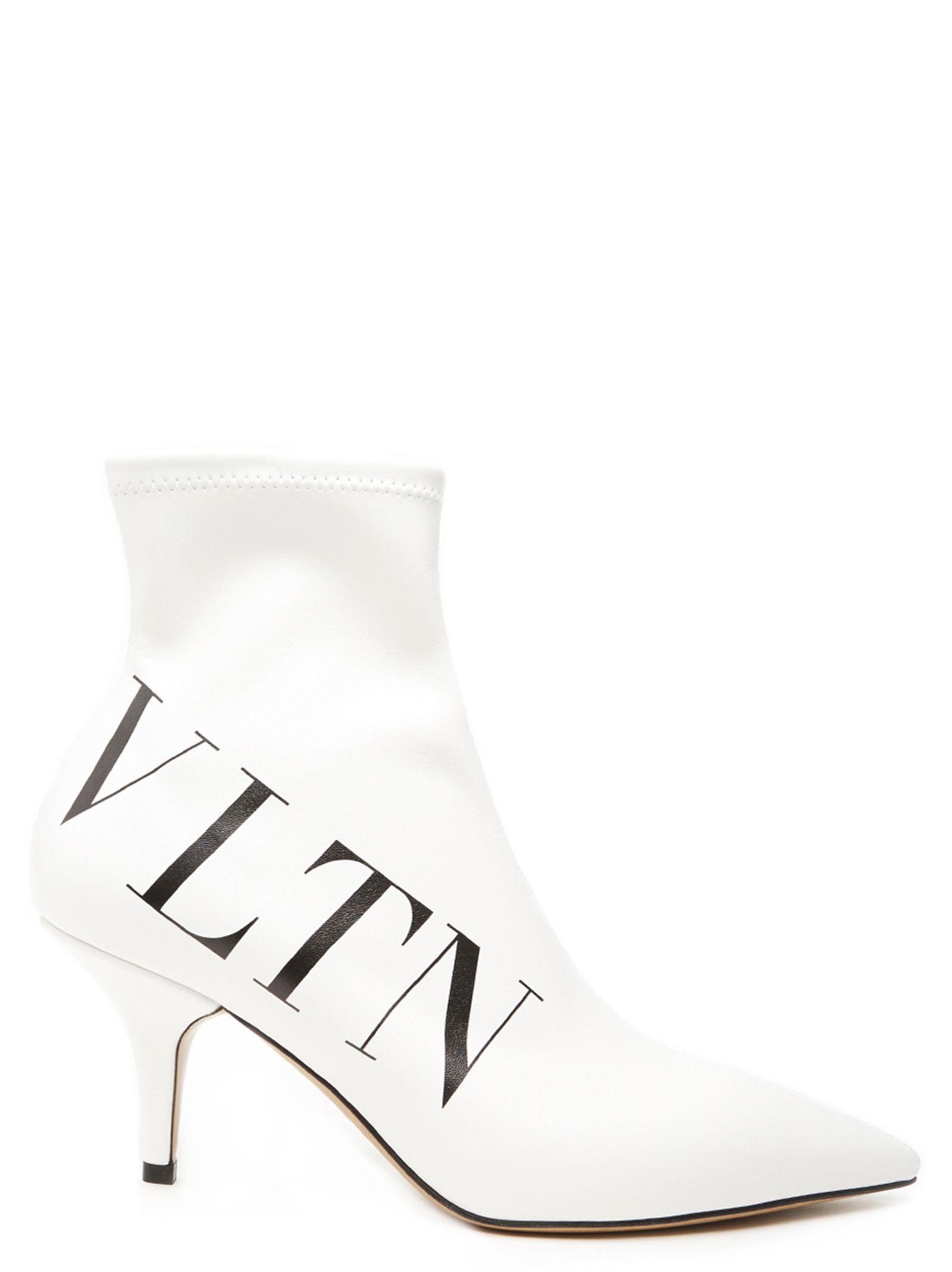 398c5e0adb5 Valentino 100Mm Vltn Stretch Faux Leather Boots In White