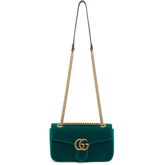 24b0b2320e31 Gucci Green Velvet Small Gg Marmont 2.0 Bag | ModeSens