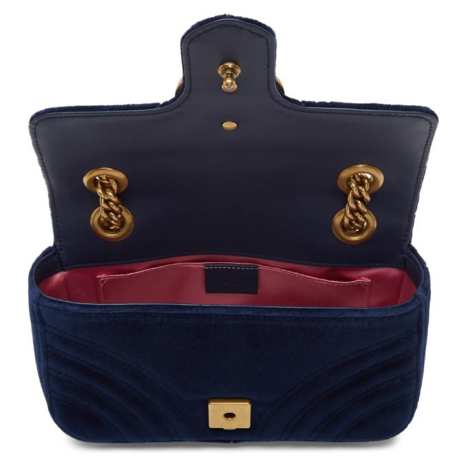 Gucci Medium Gg Marmont 2.0 Matelasse Velvet Shoulder Bag - Blue In Cobalt/ Cobalt