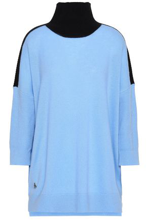 AMANDA WAKELEY AMANDA WAKELEY WOMAN CASHMERE AND WOOL-BLEND TURTLENECK SWEATER SKY BLUE,3074457345619862451