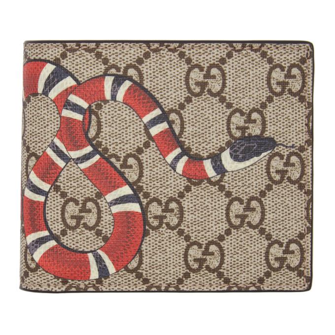61a9205980ed Gucci Gg Supreme And Kingsnake-Print Bi-Fold Wallet In 8666 Eb/Mul ...