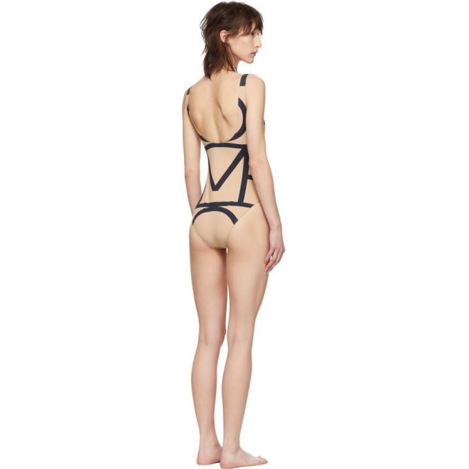 5d3c3ac1f8fce TotÊMe Toteme Beige Positano One-Piece Swimsuit In 910 Mono | ModeSens