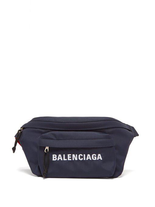 7397613c374cd8 Balenciaga - Wheel Logo Embroidered Belt Bag - Womens - Navy Multi ...