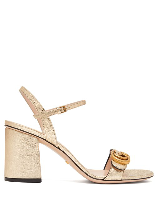 359672d453ee2 Gucci - Gg Marmont Metallic Leather Sandals - Womens - Gold