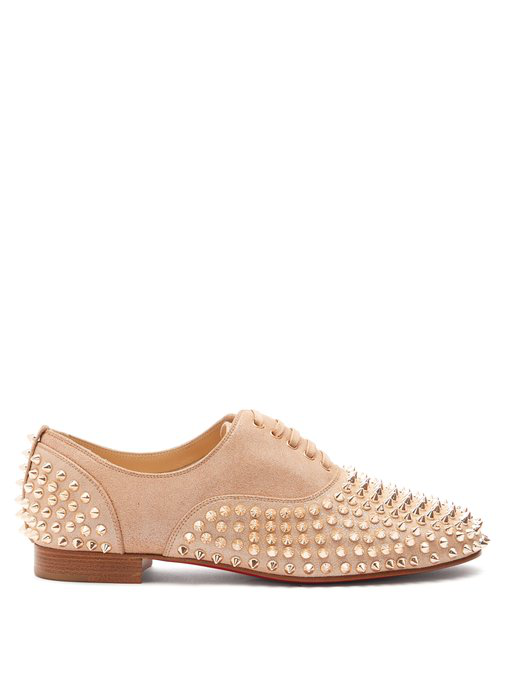 62609829a55 Christian Louboutin - Freddy Studded Leather Derby Shoes - Womens - Nude  Gold